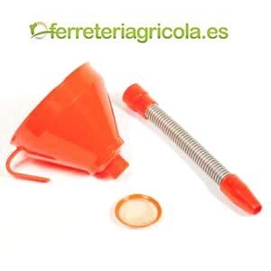 EMBUDO PLASTICO CON TUBO METAL 160