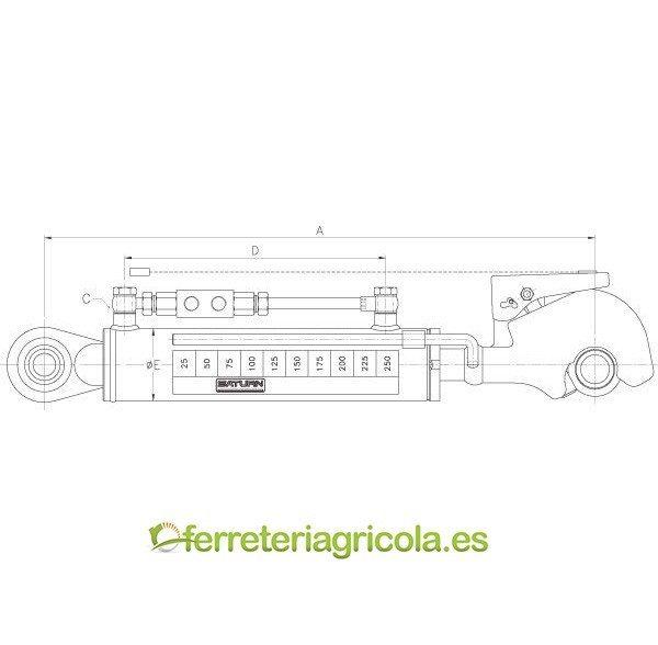 KIT TERCER PUNTO HIDRAULICO CAT 2 KRAMP 230mm